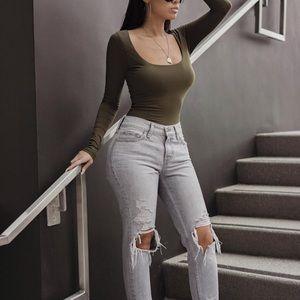Jluxlabel | Olive Bodysuit Size Medium